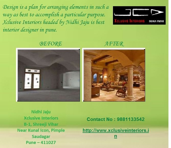 Design is a plan for arranging elements in such a way as best to accomplish a particular purpose. Xclusive Interiors headed by Nidhi Jaju is best interior designer in pune. We are passionate in designing and creating spaces that make your living & working simplified. We combine our creative and professional expertise with latest technology coupled with global design approach to give you a sense of pride.