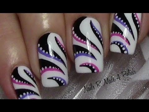 Abstraktes Streifen Nageldesign selber malen / Nägel lackieren / Nail Art Design Tutorial - YouTube
