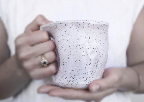 Handmade Ceramic Mug, Unique Hand-Finished, Wheel Thrown Coffee Mug, Rustic Speckled White Glaze,Yoga Lover Gift.