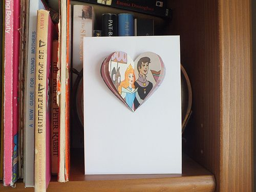 Sleeping Beauty wedding or anniversary card - handmade vintage paper cards made from children's books, upcycled with love and available on Etsy