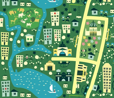 seamless cartoon map of melbourne australia fabric by anastasiia-ku on Spoonflower - custom fabric