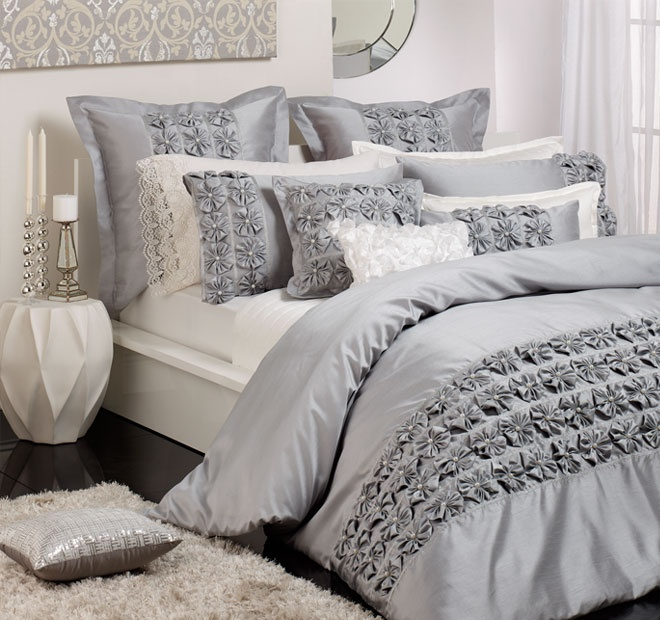 Private Collection Camille Super King Bed Quilt Cover Silver