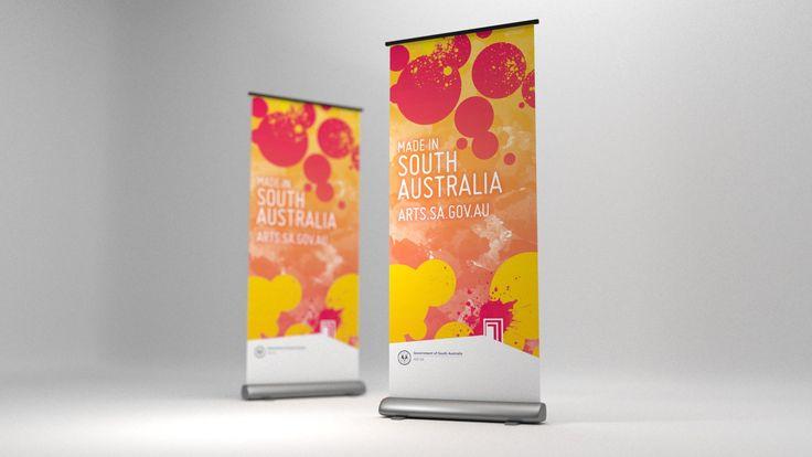 Arts SA Banner, graphic design, print, Adelaide - Drawcard