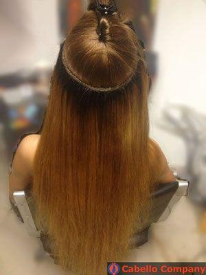 Tressen weaving Haarverlängerung mit leicht gebleichtem Haar