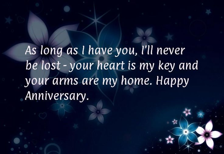 As long as I have you, I'll never be lost - your heart is my key and your arms are my home. Happy Anniversary.