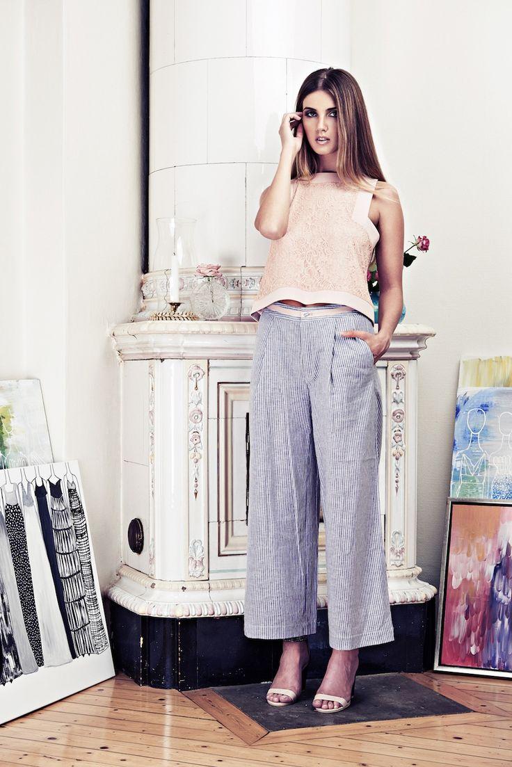 Lookbook SS15 Viktoria Chan fashion label, Scandinavian fashion, Pink colors. Crop lace top.