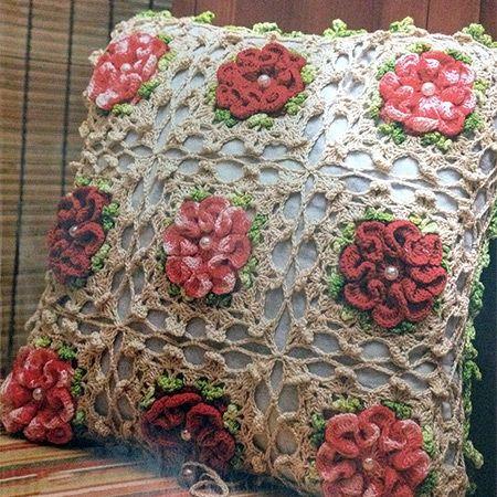 Receita Capa Almofada Flor Pérola em Crochê