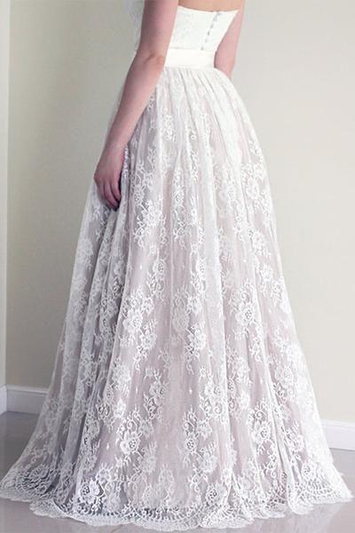 Милая декольте кружево линия Свадебные платья, без бретелек Дешевые платье свадебное, Бюджетное Свадебные платья, 17090
