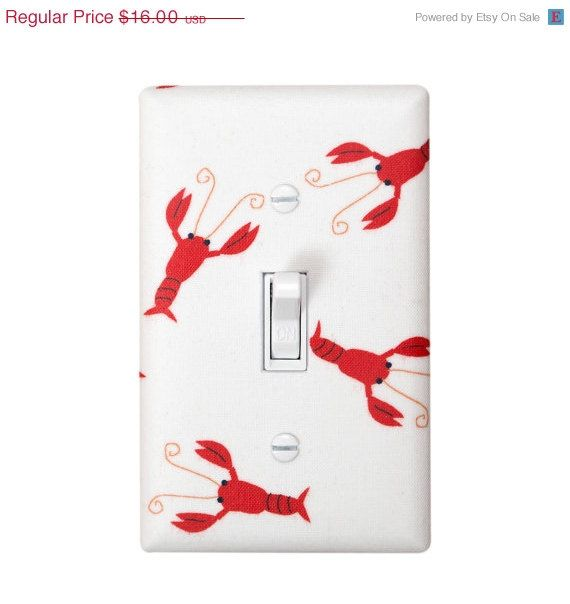 3 DAY SALE Lobster Light Switch Plate Cover / Boys Room Nursery / Nautical Kids Room Bathroom / Gender Neutral / Riley Blake
