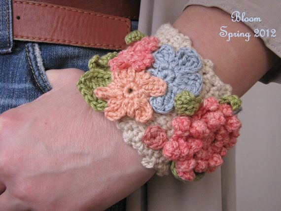 Crochet bracelet - Crochet cuff featuring spring flowers - The Bloom Collection. $26,00, via Etsy.