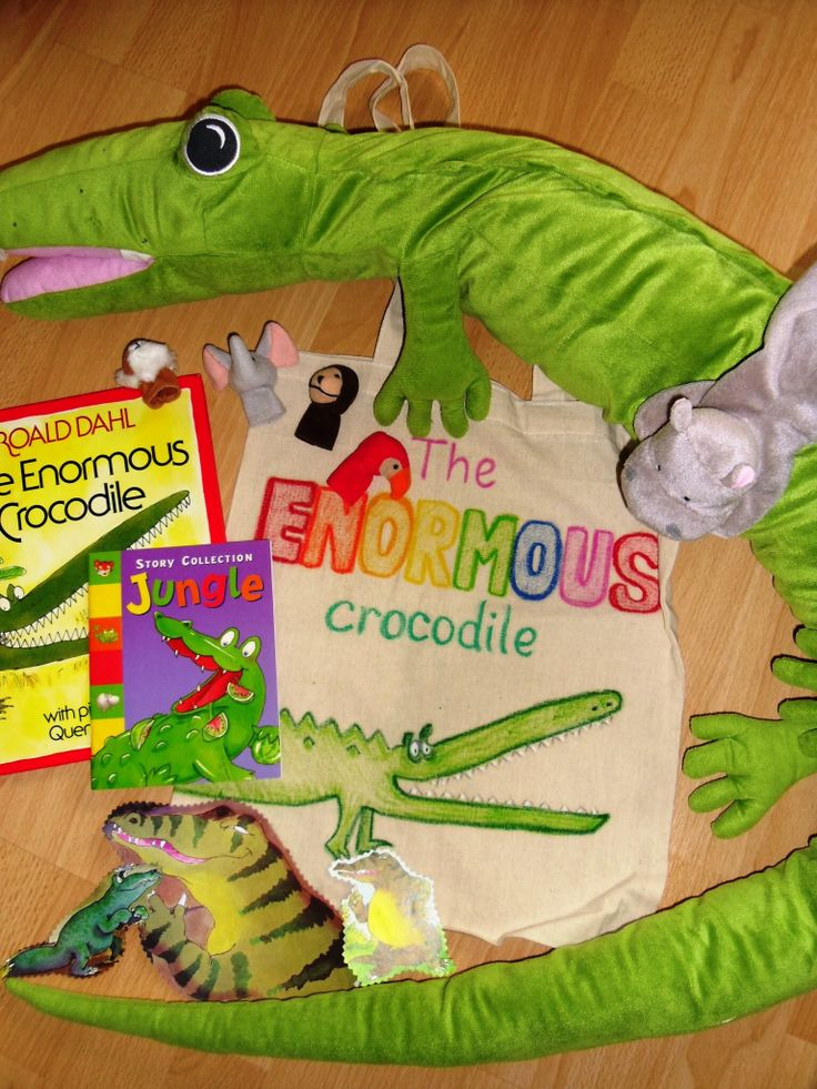 Lots of animal puppets to retell Roald Dahl's The Enormous Crocodile.