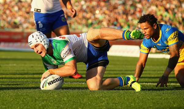 Jarrod Croker of the Raiders scores his 100th try during the round five NRL match between the Canberra Raiders and the Parramatta Eels at GIO Stadium on April 1, 2017 in Canberra, Australia.