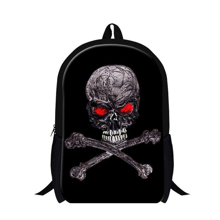 2016 hot selling Boys backpack magazine skull back pack bag for boy, ghost balck casual school backpack for children bookbags