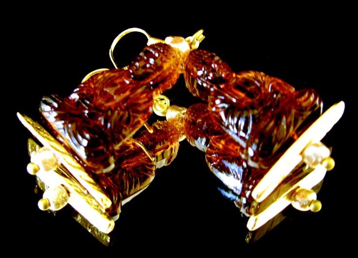 Brown Buddha's earrings