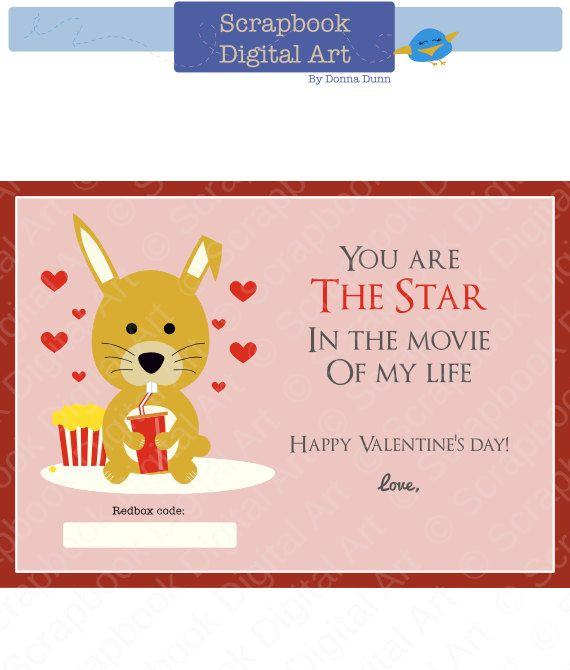 Printable Redbox Gift Card Tag Printable Card Movie Night Redbox