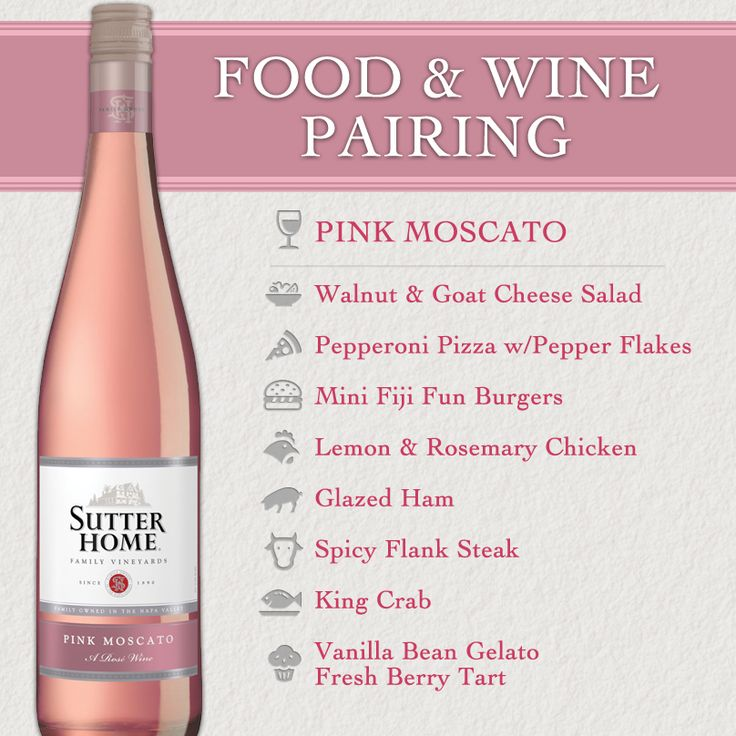 """Sutter Home Pink Moscato:  """" luxurious aromas of creamy white peaches and caramel. Of course those sweet scents are not to be outdone by the luscious passion fruit and honeydew melon flavors. A hint of sweet vanilla makes this a perfect partner for a fresh berry tart."""""""