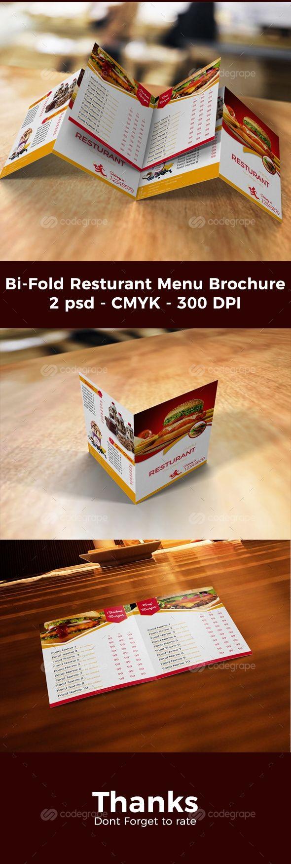Bi-Fold Resturant Menu Brochure on @codegrape. More Info: https://www.codegrape.com/item/bi-fold-resturant-menu-brochure/11875