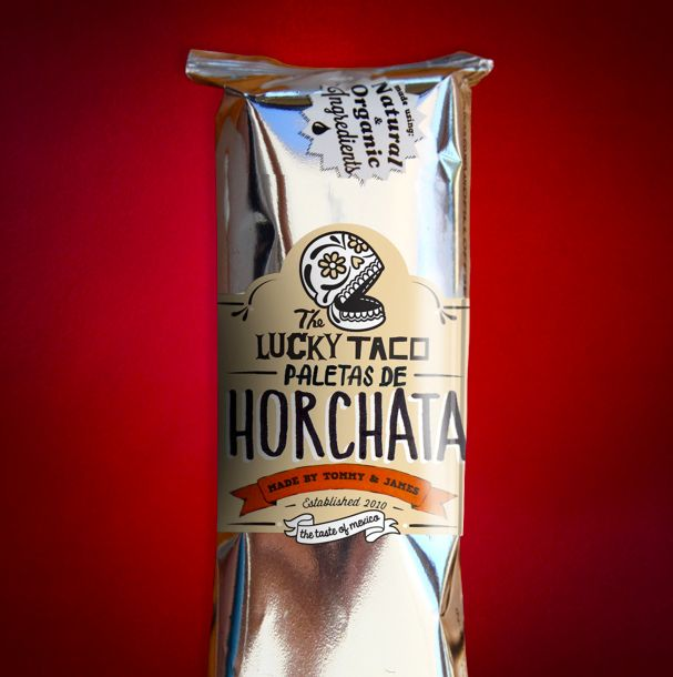 Packaging mockup for our Lucky Paletas de Horchata brought to you by Tommy & James!