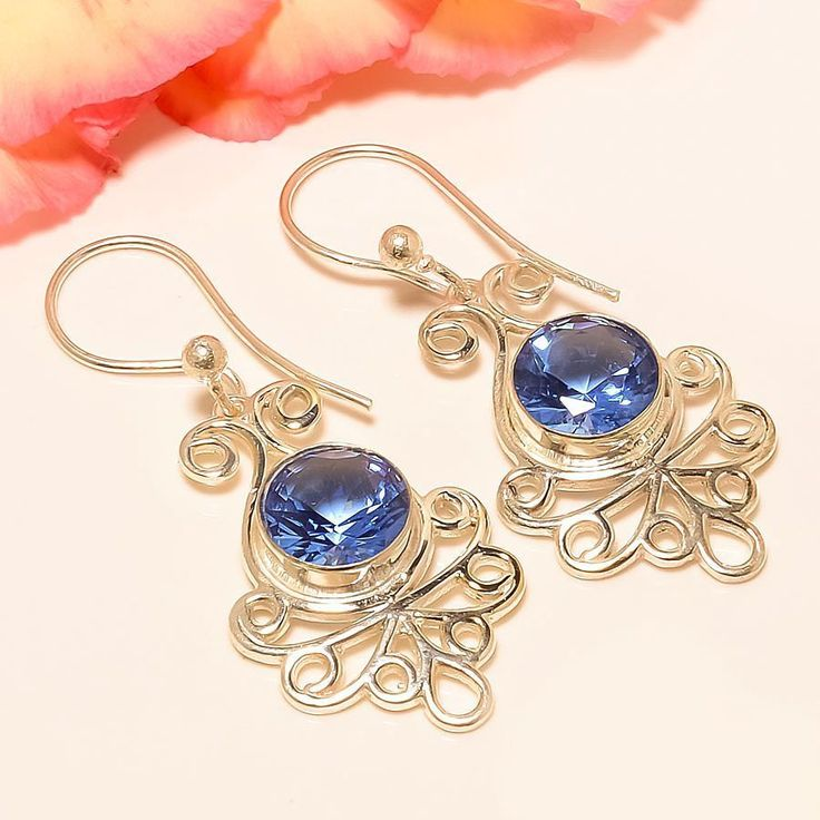 "Tanzanite Quartz 925 Sterling Silver Jewelry Earring 1.77"" #Handmade #DropDangle"