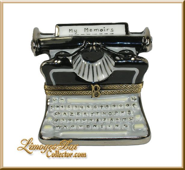 "Old-Fashioned Typewriter ""My Memoirs"" Limoges Box by Beauchamp, Literary gifts, French porcelain Limoges Gifts"