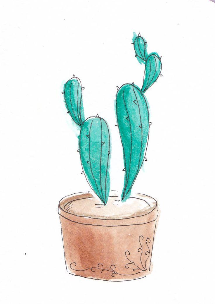 Watercolor cartoon cactuses by mariaptore