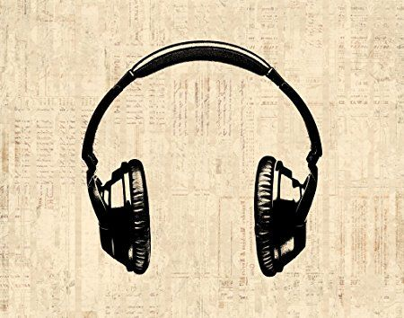 Headphones Wall Art Music Themed Illustrated Antique Style Poster or Print in a Vintage Script Paper Style - Office Bedroom Living Room Home Decor (8 x 10 Inches) - $15.9900
