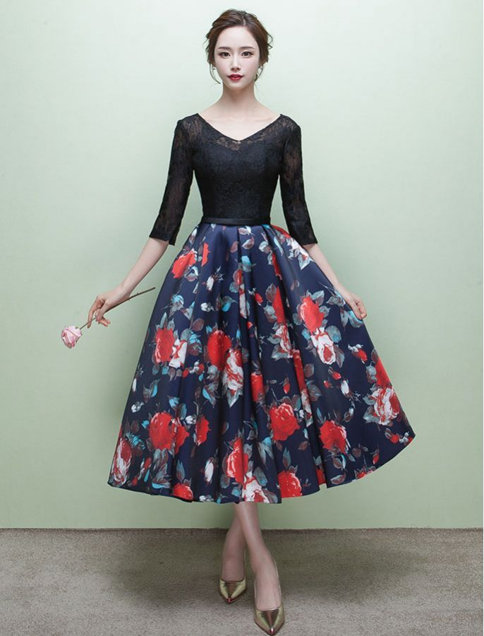 1950s Grace Kelly Inspired Floral Dress