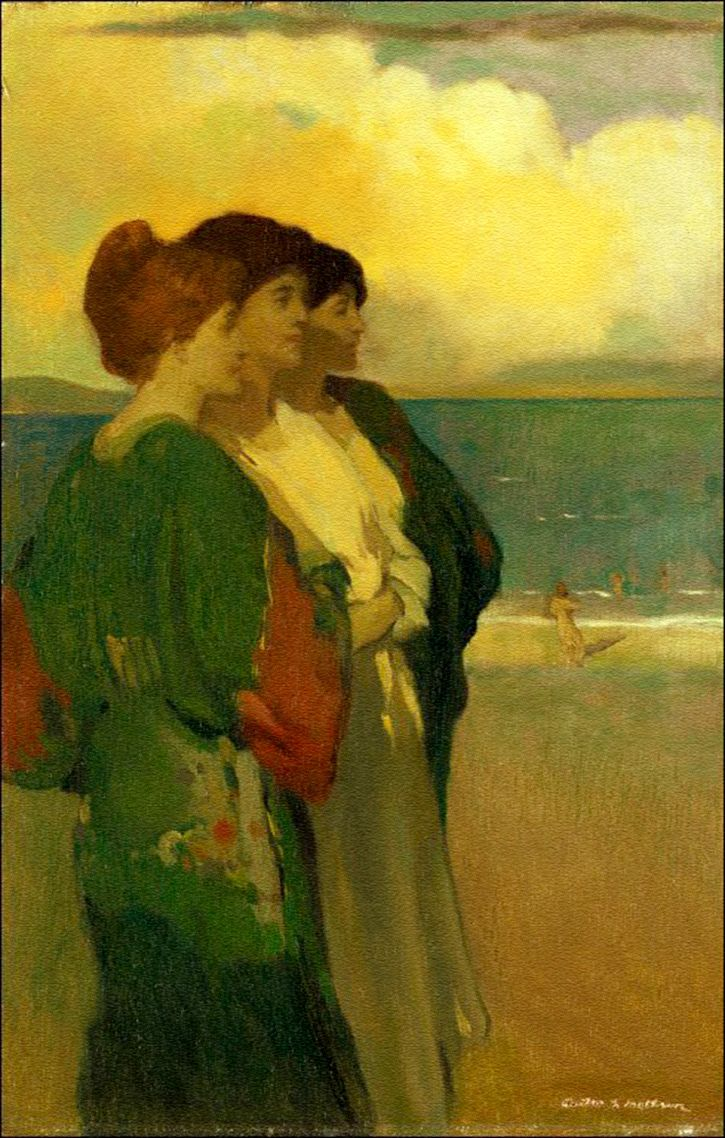 Song of the Sea (The Three Graces) c.1909. Arthur Frank Mathews. Oil on panel