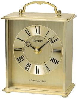 Metal case, piano finish   Colour: gold   Hourly Westminster and striking   16 classic songs   3 Christmas songs   2 x AA battery included   Ships in manufacturer's original printed box   One year guarantee,   Made in Japan by RHYTHM  With its contemporary dial this clock is suitable for any décor or setting, whether placed on the fireplace mantel, the bookshelf or the desk. Great gift for executive.