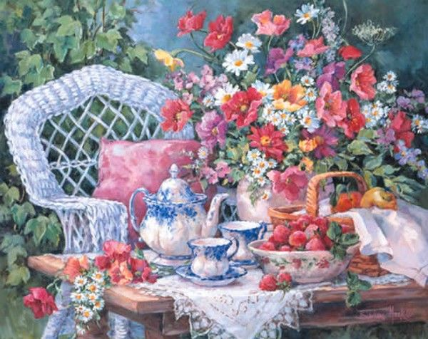 """Tea and Strawberries"" Barbara Mock"