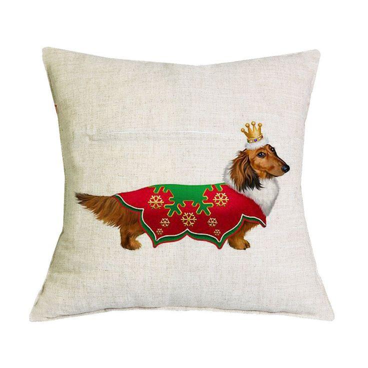Christmas Dachshund Red Shirt Pillow Case