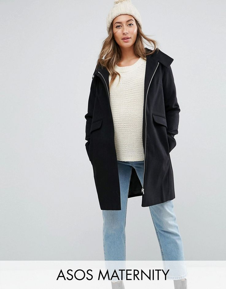 Get this Asos Maternity's basic coat now! Click for more details. Worldwide shipping. ASOS MATERNITY Hooded Slim Coat with Zip Front - Black: Maternity coat by ASOS Maternity, Faux-wool, Fully lined, Hooded neck, Zip fastening, Functional pockets, Slim fit - cut close to the body, Designed to fit through all stages of pregnancy, Dry clean, 90% Polyester, 9% Viscose, 1% Elastane, Our model wears a UK 8/EU 36/US 4 and is 169cm/5'6.5 tall. Maternity dressing gets bumped up to next-level status…