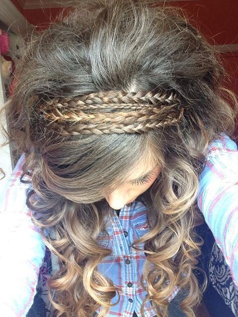 braided headband and curly hair