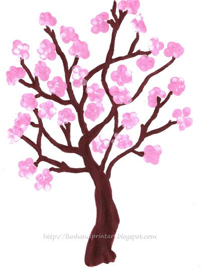 Handprint and Footprint Art : Fingerprint Spring Cherry Blossom Tree