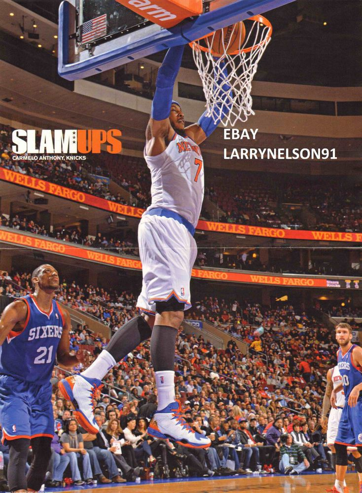 CARMELO ANTHONY POSTER NEW YORK KNICKS DUNKING ON THE PHILADELPHIA 76ERS SIXERS