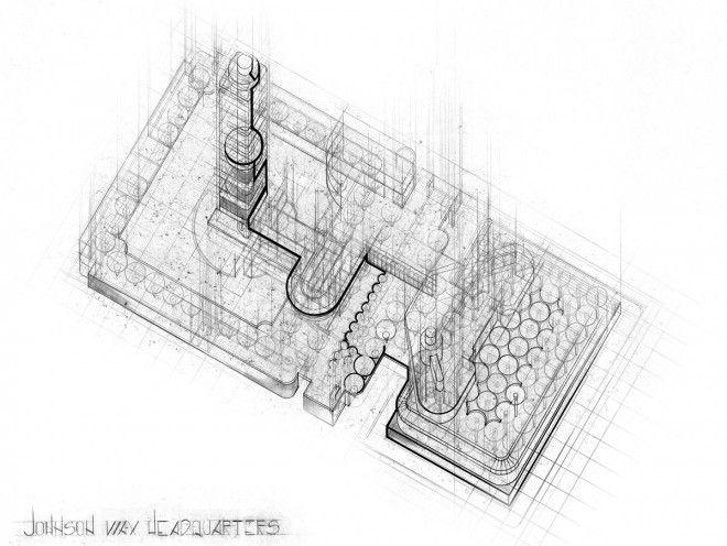 Anya Ivanova's plan oblique drawing of the Johnson Wax Headquarters