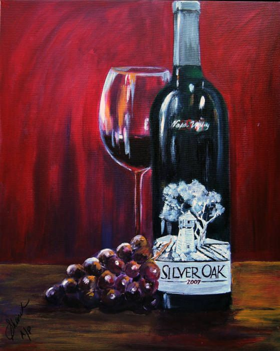 Wine bottle painting Silver Oak of Napa Valley, limited edition Giclee print on canvas, kitchen art , Wine art gift for men #Painting #Tangoart