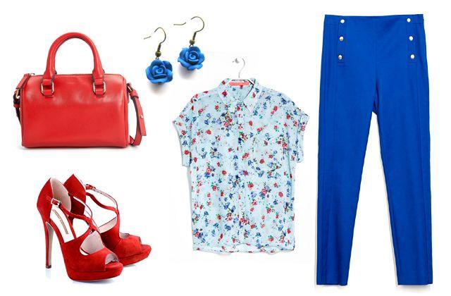 Blúz, táska: Mango, nadrág: Zara, fülbevaló: Szelence (meska.hu), cipő: Buffalo