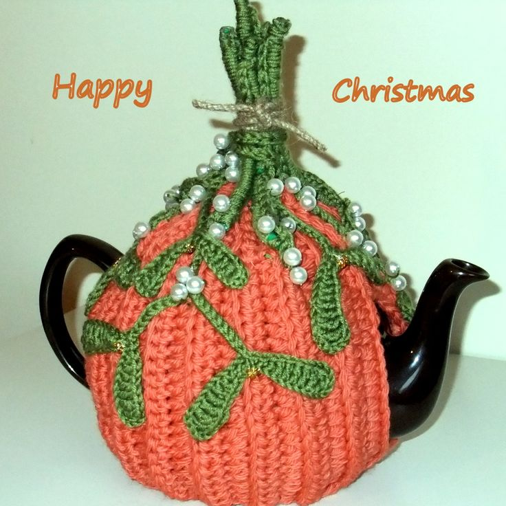 Crochet Mistletoe teacosy made for BBC Xmaswatch Special