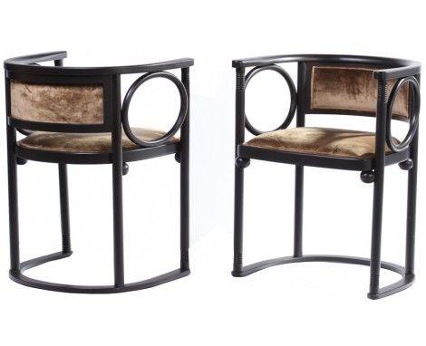 Pair Of Of Josef Hoffmann Fledermaus Chairs, Designed In 1907, Authorised  Reissue By Wittmann