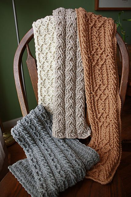 White Mountain Cabled Crochet Scarves: #crochet #pattern for purchase