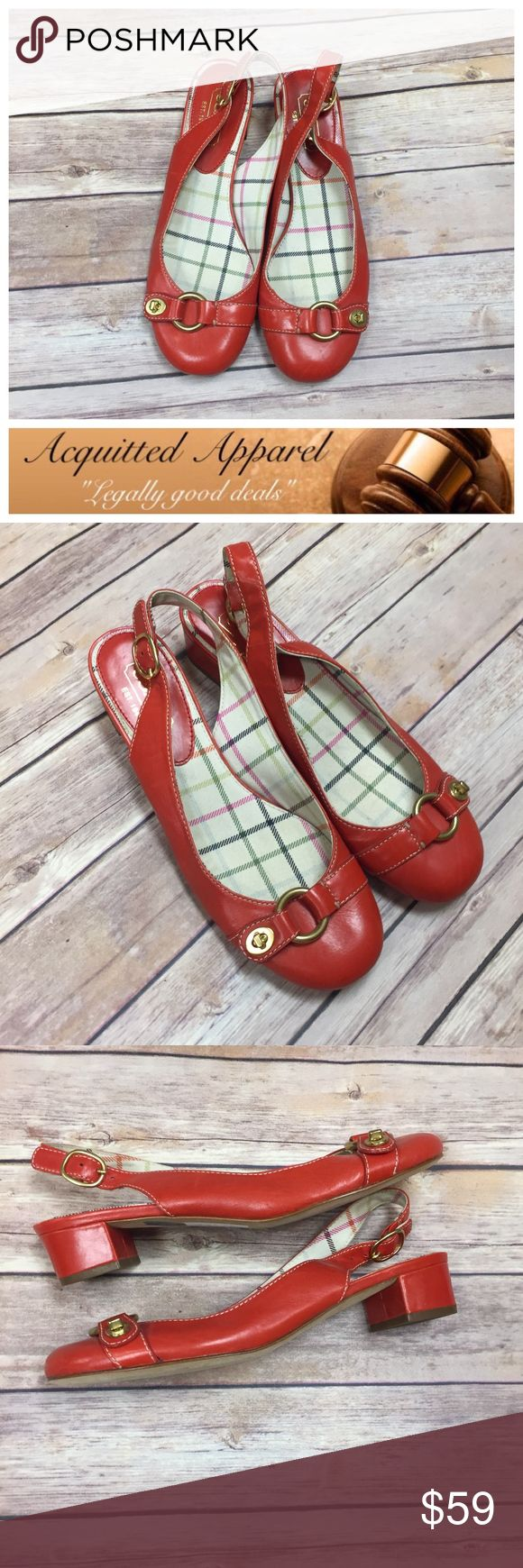 """(COACH) Leather Slip On Short Heel Sling Back Shoe Red Geranium color with gold hard wear. Excellent almost like new condition. Retailed for $178. No signs of wear. Perfect for spring and summer. Simple 1"""" heel. Size 8 B. Coach Shoes"""