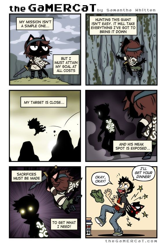 the GaMERCaT :: Colossal Undertaking | Tapastic Comics - image 1 webcomics about a cat that plays video games