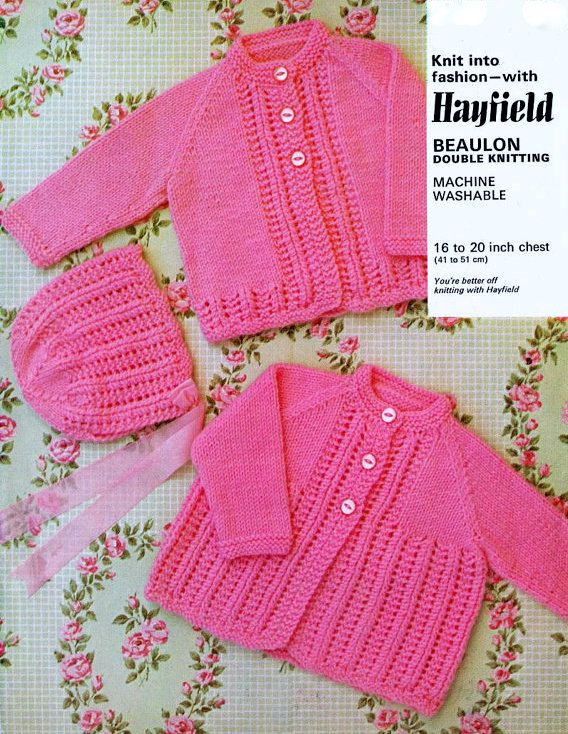 Knitting Patterns Hats For Beginners : Vintage Knitting Pattern Matinee Set Baby Coat Bonnet Hat Cardigan Jacket PDF...
