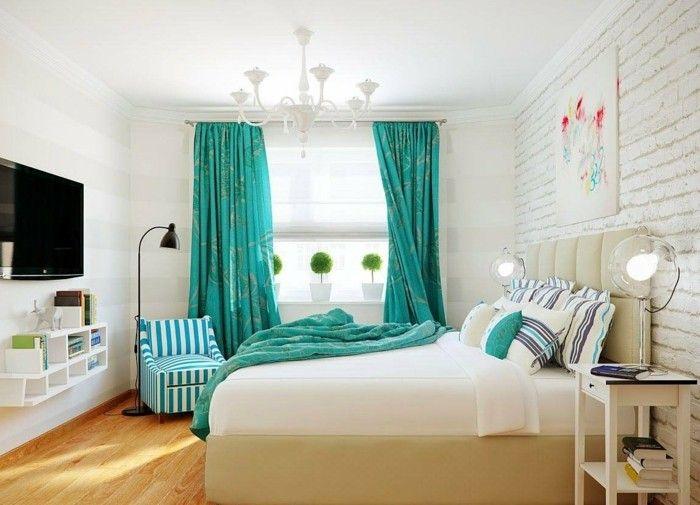 1001 designs stupfiants pour une chambre turquoise home decor bedroombedroom curtainsbedroom ideaswhite