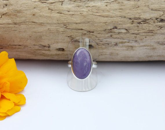 Charoite Ring Semi Precious Gemstone Ring by SilverEarthJewellery