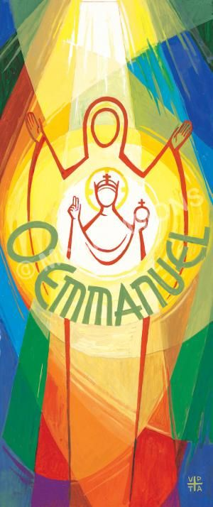 """O Emmanuel - O Antiphon banner by The Benedictine Sisters of Turvey Abbey. December 23 Advent: 'O Emmanuel, our King and Lawgiver, for whom the peoples are waiting, and their Saviour, come to save us, Lord our God.' Order ref: BAN18 / 52"""" x 24"""" / £99.00 (+ VAT £118.80). Larger sizes and other print formats available including PVC banners@mccrimmons.com or visit our website for further details. Set of 8 'O' Antiphon banners for the whole Christmas story: £750 (+ VAT £900)."""