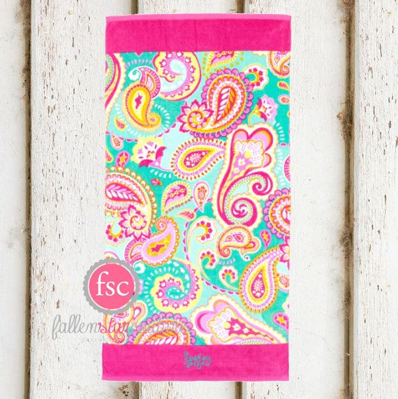 Paisley Monogrammed Beach towels , personalized beach towels , bridesmaid beach towels , kids beach towels , summer camp towels