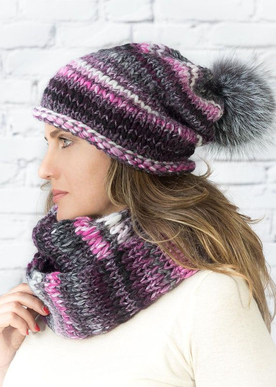 67188709ecd16  Chunky knit beanie and cowl Wool hand knitted set slouch hat  Lanagrossa   knitting  inspiration