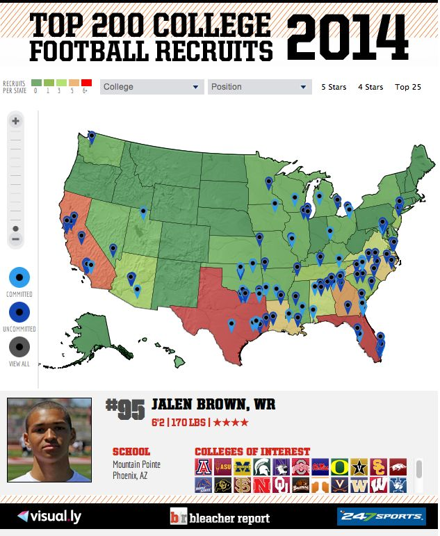 College Football Recruiting 2014: Interactive Commitment Map for Top 200 Players